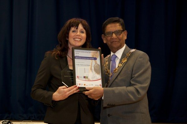 Cathy Underwood Radan receiving The Inclusive and Active Sports Coach Award 2014